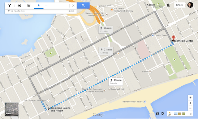 Walking Route from Tropicana to Carnegie